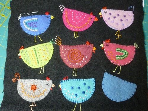 Applique felt chickens-WIP