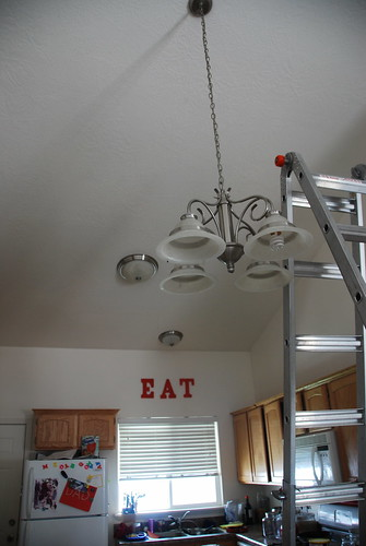 replacing a light fixture chandelier