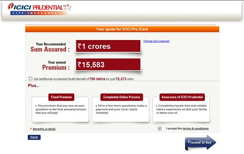Image of premium calculation for iCare for a premium of 1 crores