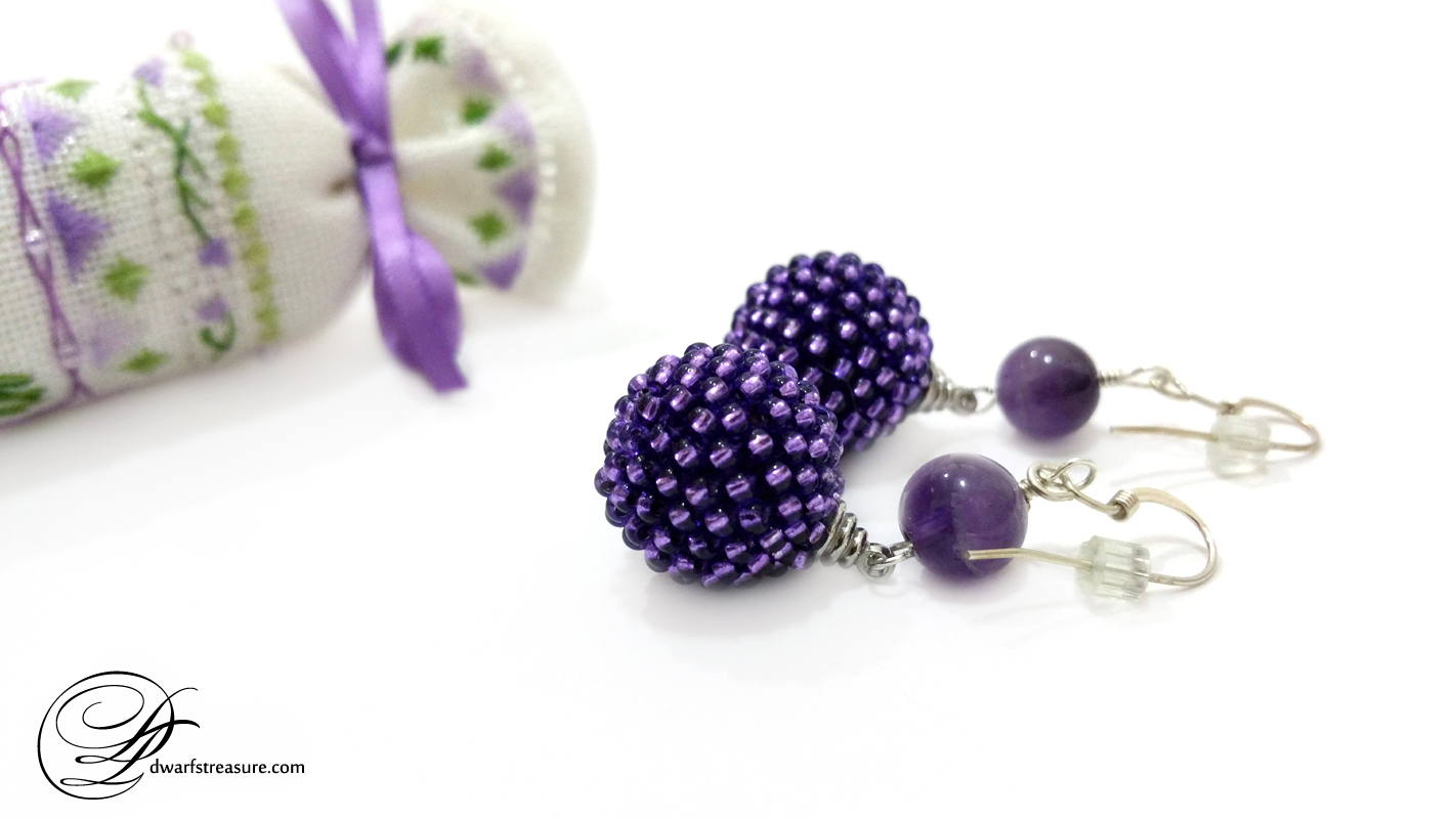 Amazing purple beaded bead earrings with cross stitch needle roll