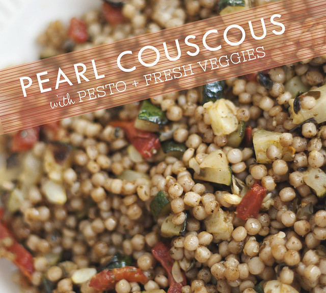 Pearl Couscous with Pesto + Veggies