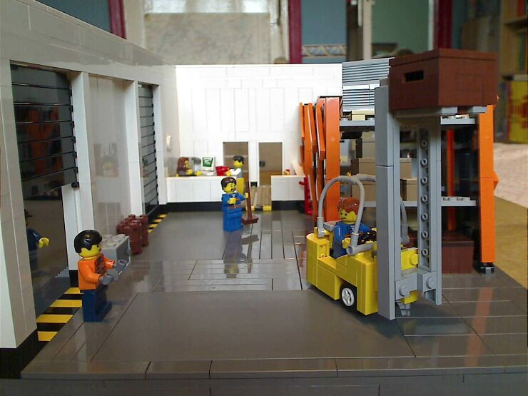 Front view inside of a LEGO® model of a warehouse