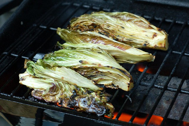 Grilling the radicchio by Eve Fox, Garden of Eating blog, copyright 2012