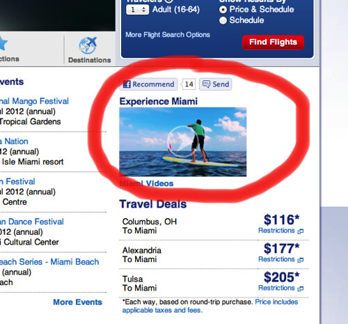 Detail Miami destination page on the American Airlines website