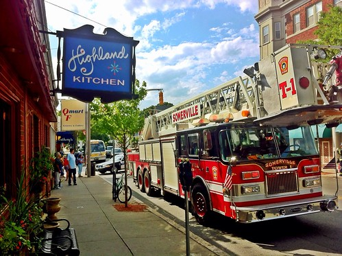 Across from Highland Kitchen: Somerville Fire Department responding to scene at corner of Highland & Central St.