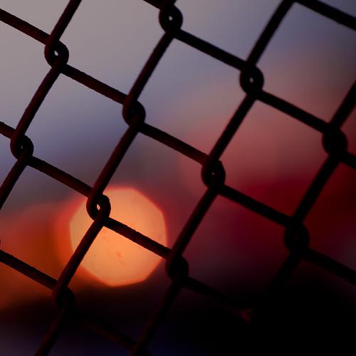 [フリー画像素材] バックグラウンド, 朝焼け・夕焼け, 金網・フェンス ID:201207280400