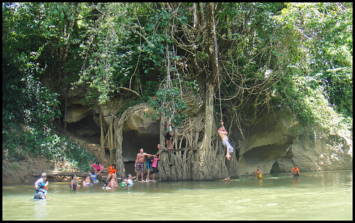Rope swing over the river at Khao Sok