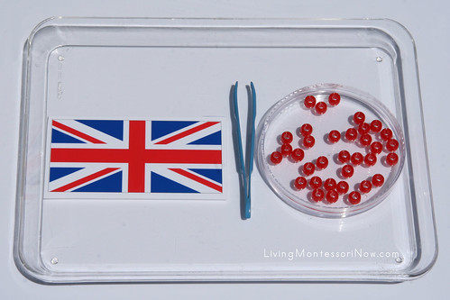 Tweezing Beads onto British Flag Activity