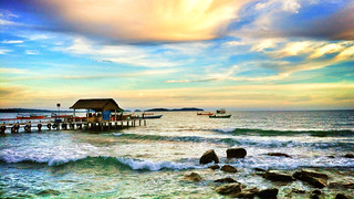 Image of Serendipity Beach near Sihanoukville. ocean life street city family people beach water asia cambodia sihanoukville view faces shianoukville