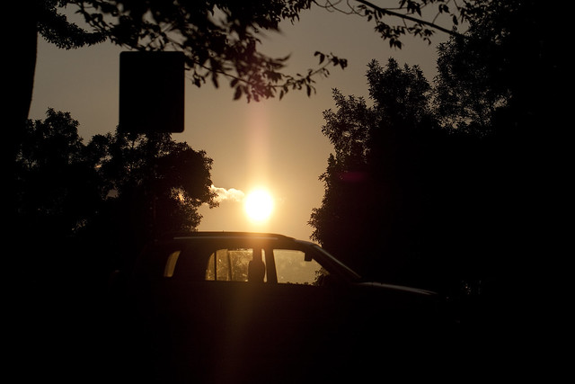 car at sunset