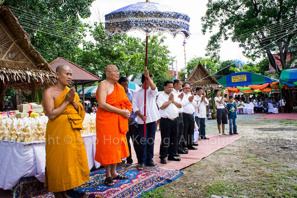 Chief Monk Officiating the making of Buddha Statue @ Wat Bo Rahaeng, Kanchanaburi, Thailand