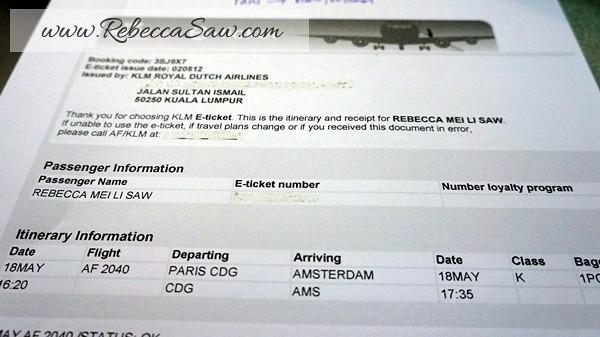 KLM ticket - Paris - Amsterdam