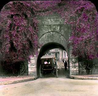 Puerta de Isabel Gate through the old Spanish Wall, Intramuros, Manila, Philippines, late 19th or early 20th Century