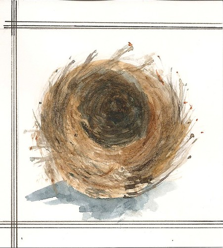 "nest shelter, watercolor 4""x4"""