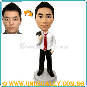 Custom 3D Casucal Smart Office Male Figurine - © www.unusually.com.sg