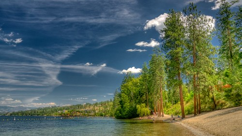 trees sky cloud canada green beach beautiful day britishcolumbia okanagan clear kelowna hdr bertram afsdxzoomnikkor1870mmf3545gifed nikond90