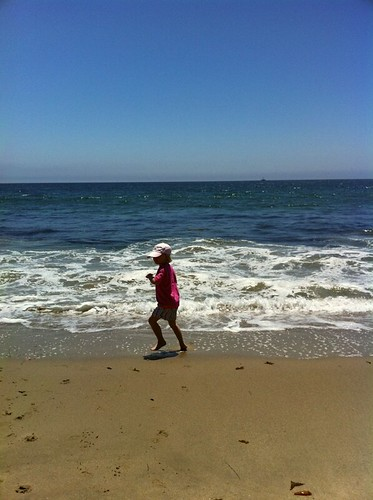 running on the beach in Malibu