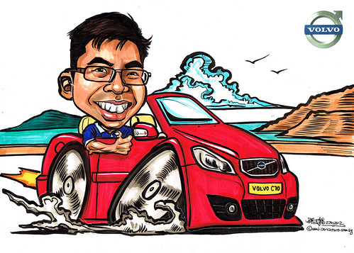 Volvo C70 Caricature for Wearnes Automotive