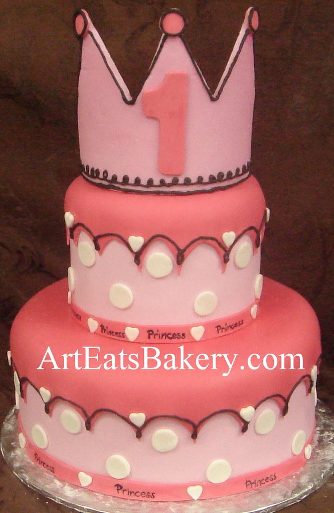Two Tier Pink Princess Polka Dot Girls 1st Birthday Cake Desing Idea