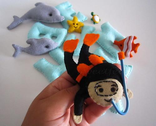 ♥♥♥ Benjamin, o mergulhador... by sweetfelt \ ideias em feltro