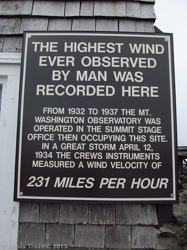 The sign commemorating the highest wind speed recorded on Mount Washington, White Mountain National Forest, New Hampshire