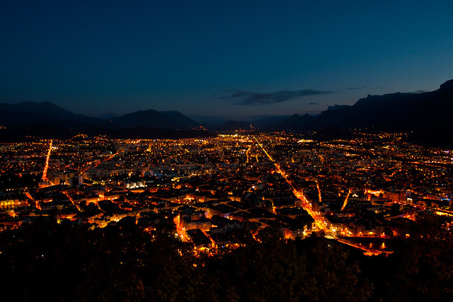 Grenoble at Night (From the Bastille)