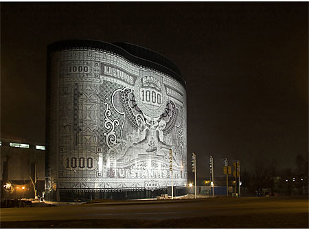 Lithuania banknote building
