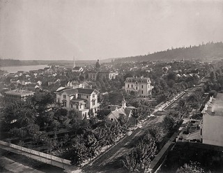 Looking southeast from Sixth Avenue at Yamhill, 1878.