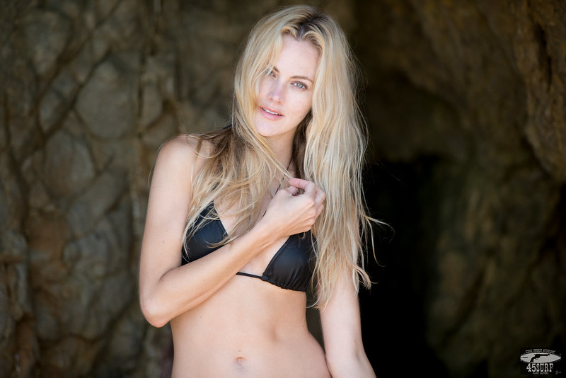Nikon D800E Photos of Bikini Swimsuit  Model in Sea Cave