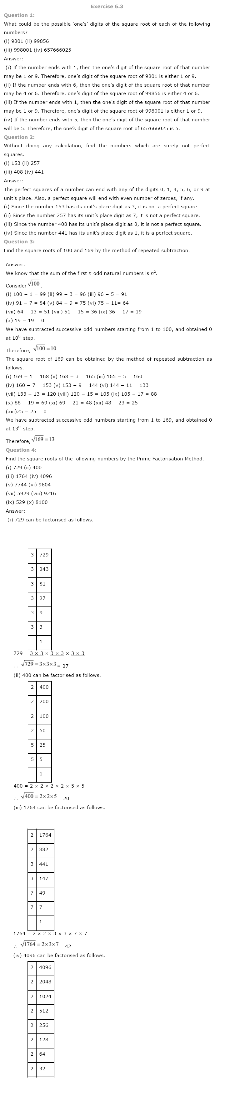 NCERT Solutions for Class 8 Maths Chapter 6 Squares and Square Roots ...