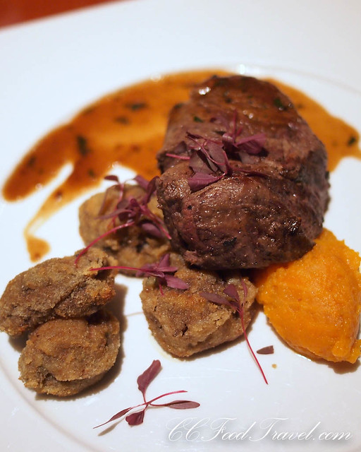 Tenderloin of grain fed black angus with pumpkin puree and porcini mushrooms