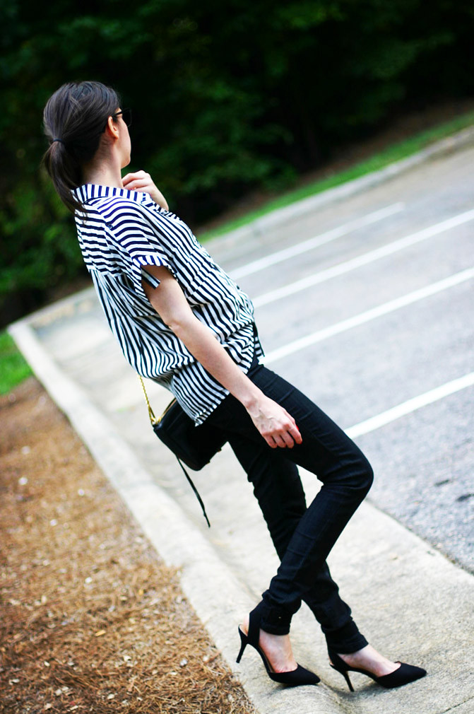 Striped blouse, Zara heels, Rebecca Minkoff M.A.C. Bag, Fashion Outfit