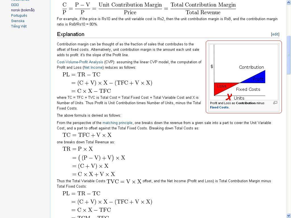contribution margin wikipedia