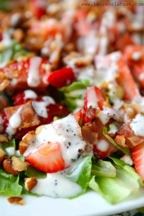 Strawberry Bacon Salad with Greek Yogurt Poppyseed Dressing 1