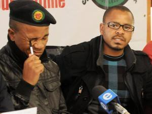 African National Congress Youth League leaders from the Cape Province, Loyiso Nkohla (left) and Khaya Yozi. The ANCYL provincial branches called for a march on Cape Town. by Pan-African News Wire File Photos