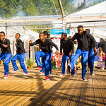 Dancers in Charlotte Square Gardens | Africanised! dancers bring high energy to the opening of the Book Festival © Alan McCredie