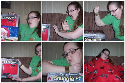 the stages of receiving a Snuggie: getting it, denial, anger, bargaining, depression, acceptance