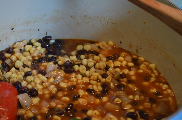 corn and beans in the pot