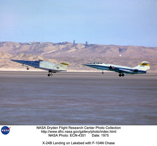 X-24B landing with F-104N chase - NASA Photo ECN-4351