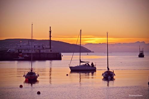 sea sunrise dawn coast boat harbour yacht douglas isleofman
