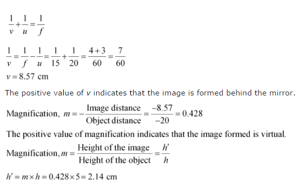 Ncert solutions for class 10 science chapter 10 light for Mirror formula
