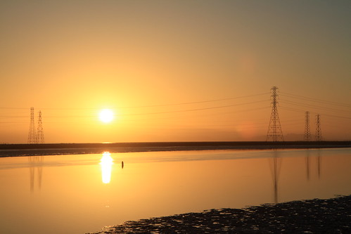 city yellow sunrise reflections flow gold golden bay san francisco day power tide low peaceful clear solstice 100views redwood pylons slough channel westpoint 3187