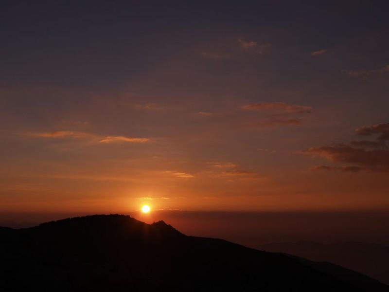 Sunset over Jepson Peak from the summit of San Gorgonio Mountain