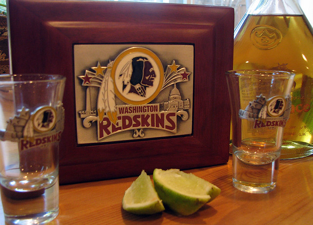 Redskin Shot Glasses and Chinaco Anejo Tequila