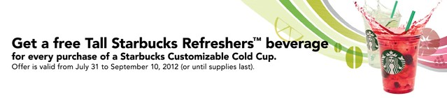 Starbucks Refreshment Tumbler Offer / Promo