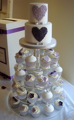 Purple and Lilac Hearts Cupcake Tower