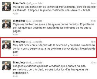 Manolete confunde Alex con Cesc Fabregas