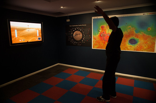 Alastair trying to land the Mars Rover via the Kinect