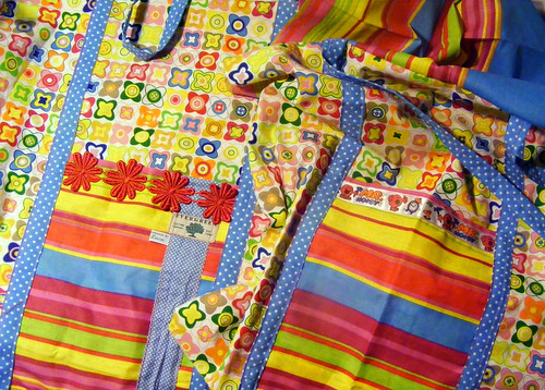 Sewing new school bags....