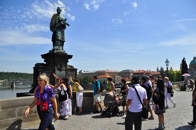Rubbing the Gold Figures for Luck...Charles Bridge, Prague